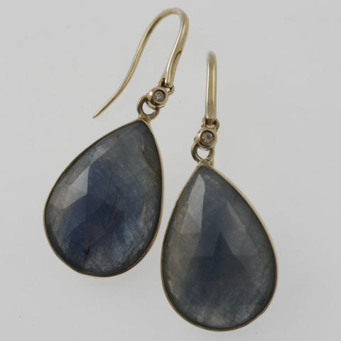 Natural blue sapphire and diamond 14 ct yellow gold bezel set teardrop earrings