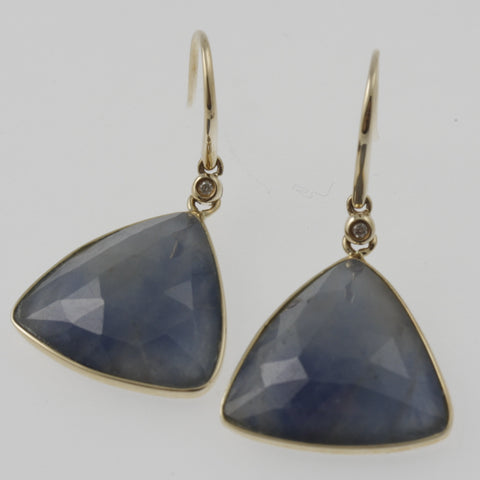 Natural blue sapphire and diamond 14 ct yellow gold bezel set triangle earrings