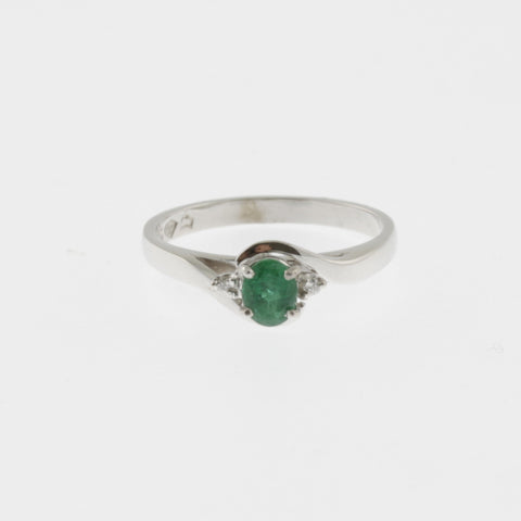 Natural emerald with side diamonds ring 9 ct white gold