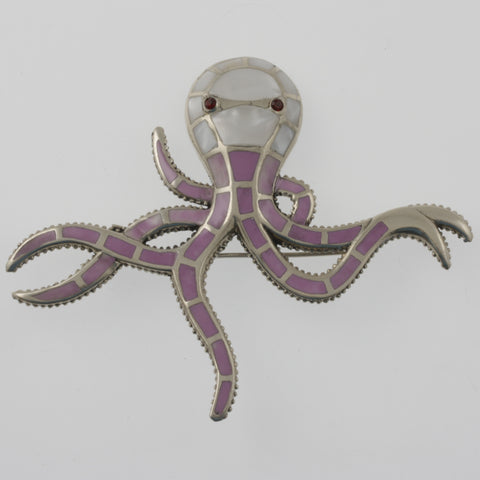 Octopus mother of pearl star brooch