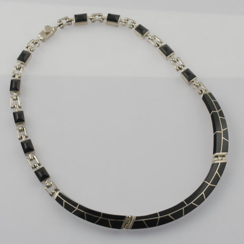 Black onyx and mexican silver handmade necklace