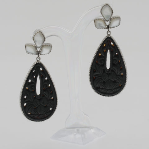 Ornate carved agate and mother of pearl earrings