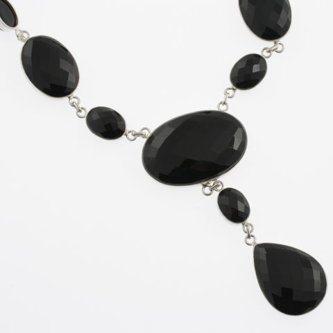 Oval faceted black agate necklace