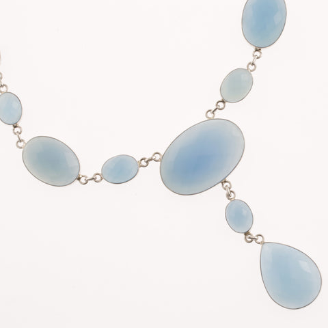 Oval faceted blue agate necklace