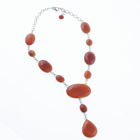 Oval faceted orange agate necklace