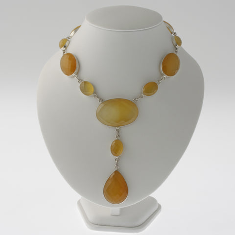 Oval faceted yellow agate necklace