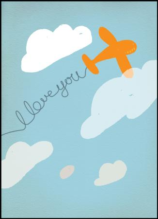Blue signwriter 'I love you' gift card