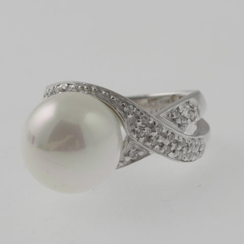 Pearl and CZ twist sterling silver ring