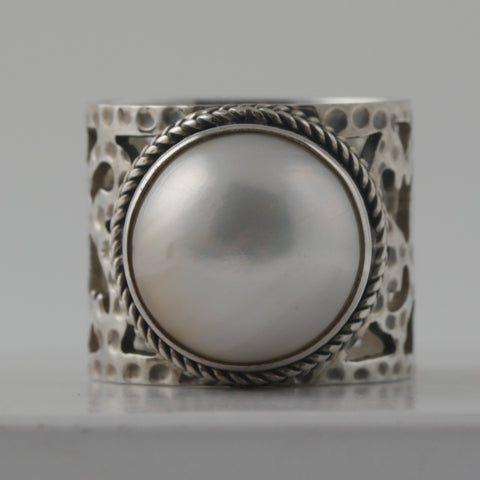 Pearl ring on wide filigree sterling silver band
