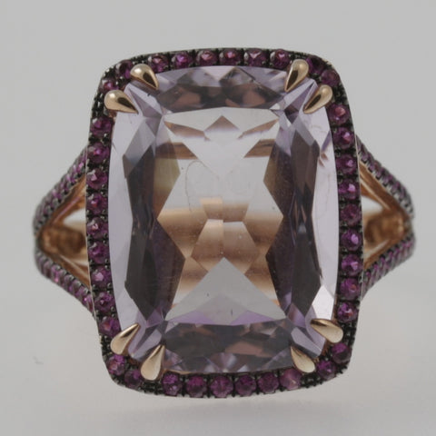 Pink amethyst ring with pink sapphire halo and shoulders in 10ct rose gold