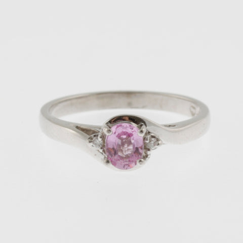Pink sapphire with side diamonds ring 9 ct white gold