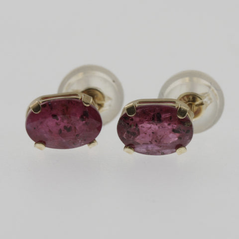 Pink topaz oval studs 6x4 mm, 10 ct yellow gold, deeper pair