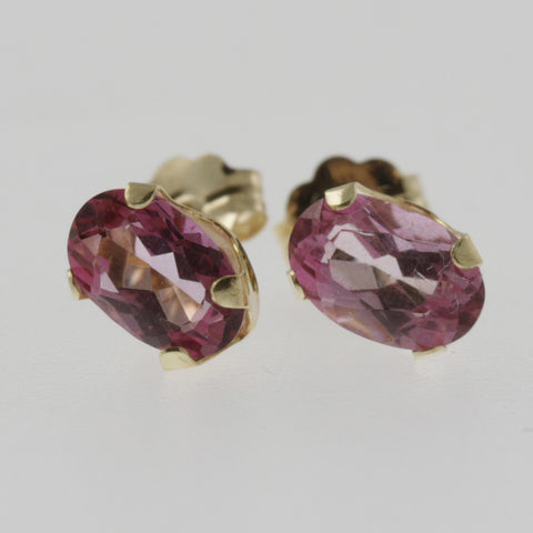 Pink topaz oval studs 6x4 mm, 18ct yellow gold