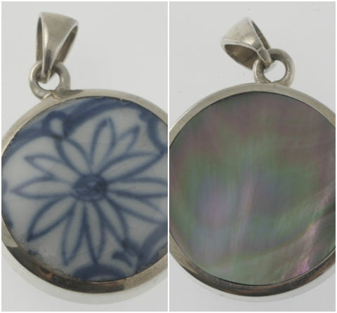 Vintage and mother of pearl reversible floral round pendant, handmade in silver
