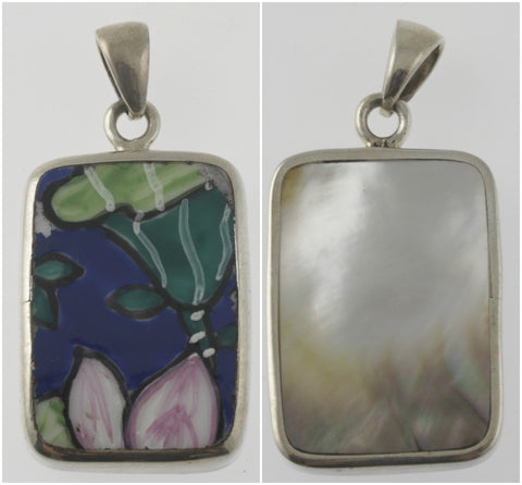 Vintage and mother of pearl reversible lily rectangular pendant, handmade in silver