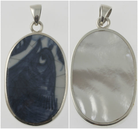 Vintage and mother of pearl reversible bird pendant, handmade in silver