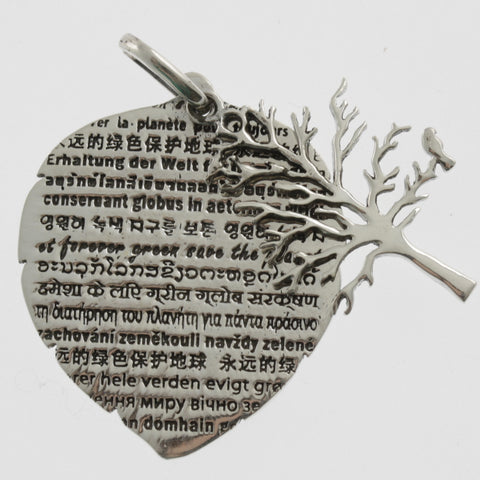 Protect the world leaf and tree silver pendant