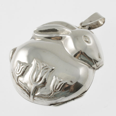 Rabbit and tulips sterling silver locket