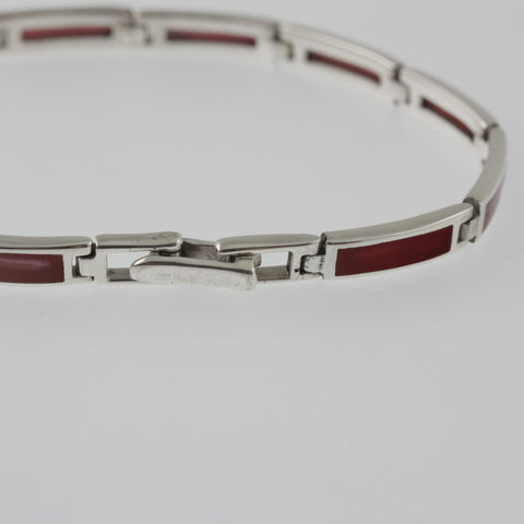 Red agate rectangle bracelet
