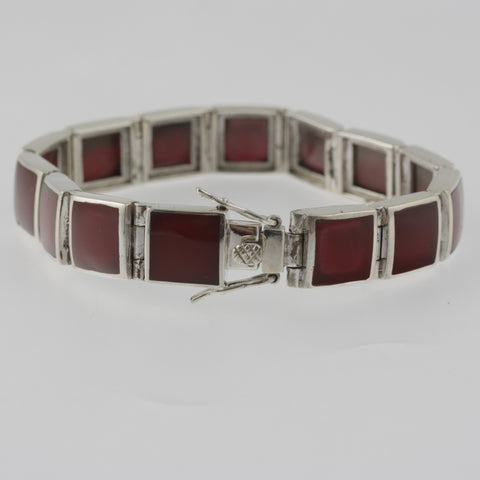 Red agate square bracelet