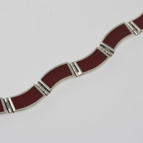 Red agate wide wave bracelet