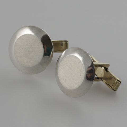 Brushed round sterling silver cufflinks