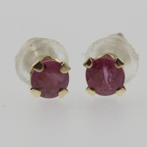 Ruby round 3.5mm studs in 14 ct yellow gold