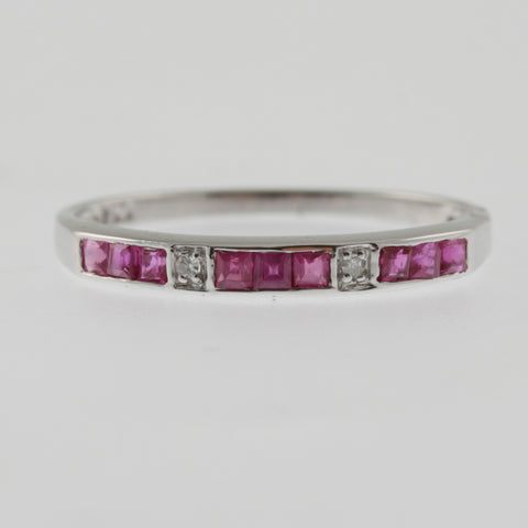 Ruby and diamond white gold ring band