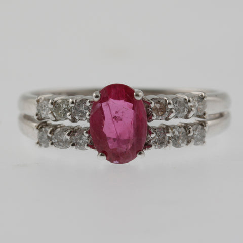 Ruby oval with diamond shoulders double white gold ring