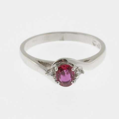 Ruby with side diamonds ring 9 ct white gold