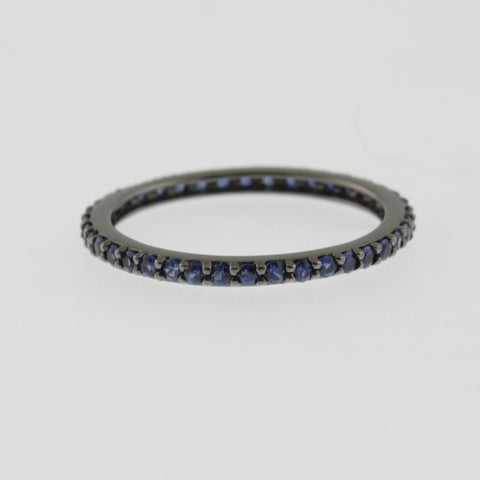 Sapphire bead set 360 band dark rhodium plated 9ct white gold ring