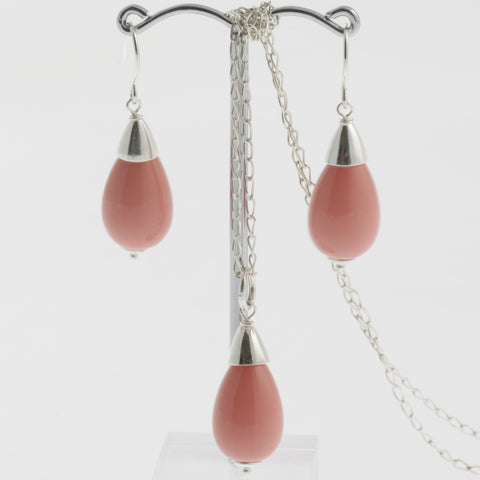 Shell earring, pendant and chain set in pink, drop with silver caps