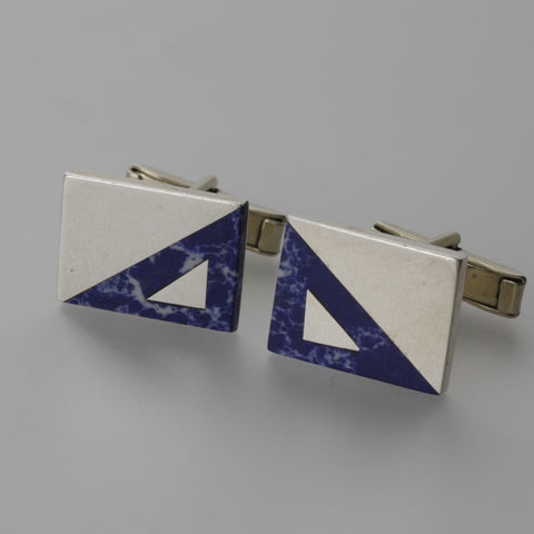 Sterling silver and lapis lazuli rectangluar cufflinks