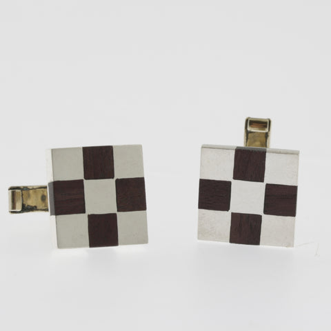 Sterling silver and timber square checkerboard cufflinks