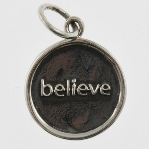 Inspiration silver oxidised pendant- believe