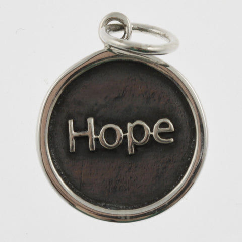 Inspiration silver oxidised pendant- hope