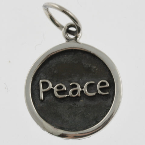Inspiration silver oxidised pendant- peace