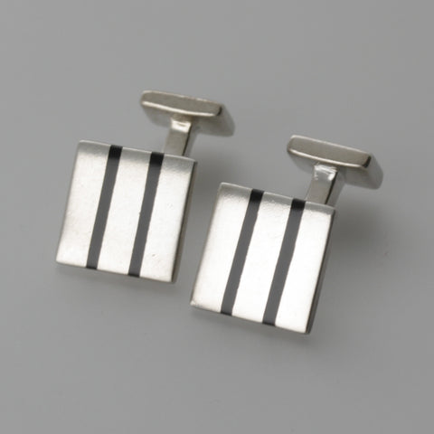 Square lined sterling silver cufflinks