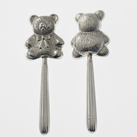 Sterling silver teddy bear baby rattle