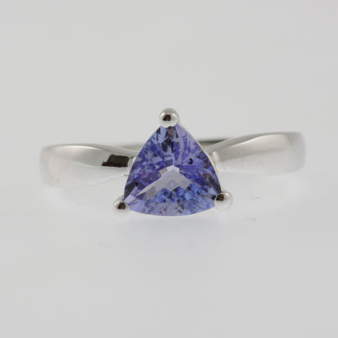 Tanzanite solitaire trillion ring in white gold
