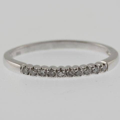 Ten diamond white gold ring band