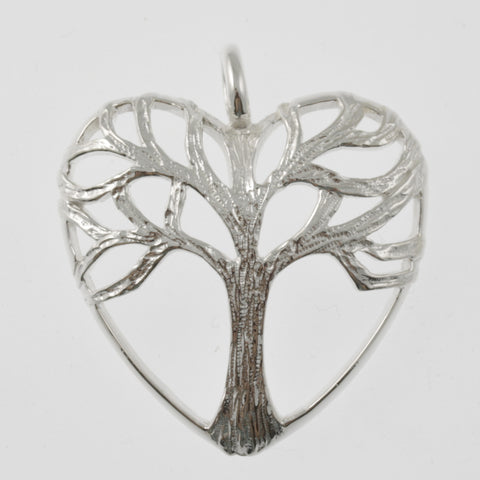 Tree of life in a heart sterling silver pendant