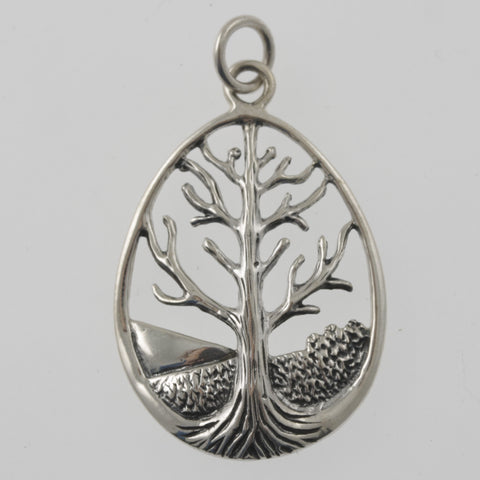 Tree of life oval sterling silver pendant
