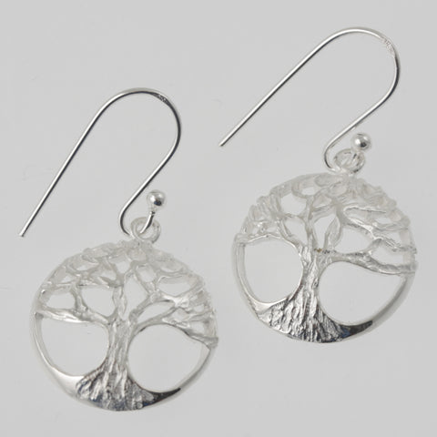 Tree of life round sterling silver earrings