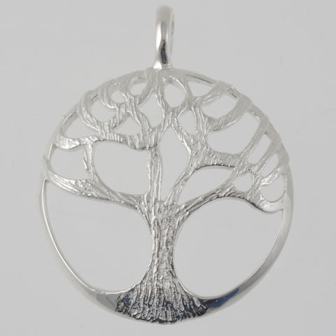 Tree of life round sterling silver pendant