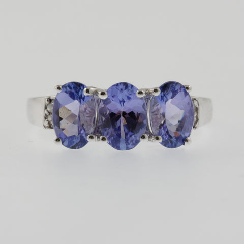 Triple oval tanzanite and diamond ring in white gold