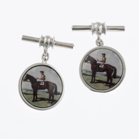 Vintage style sterling silver cufflinks with standing race horse and jockey in blue and yellow
