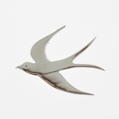 Welcome swallow large silver pendant