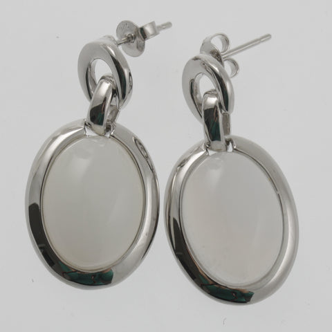 White agate oval earrings