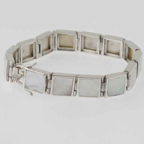 White mother of pearl square bracelet